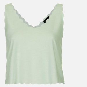 TOPSHOP Mint Scalloped Top -Size 2 (NWOT)